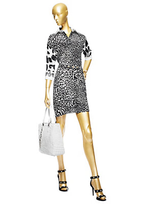 Versace Kadınlar Küçük Leopard Gömlek Elbise