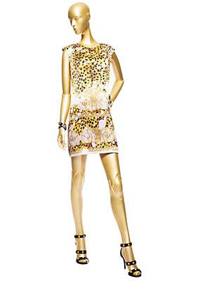 Versace Kadınlar Barocco Pop Splash Kısa Elbise