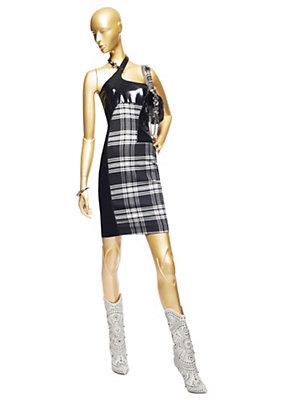 Versace Kadınlar boyundan Tartan Ve Vinil Elbise