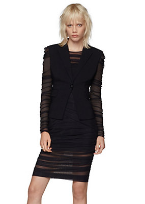 Versace Women Pleated Tulle Stretch Blazer