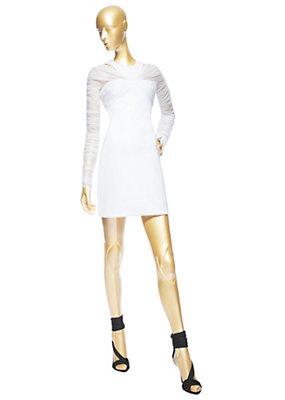 Versace Bayan Pileli Tül Kol Mini Elbise