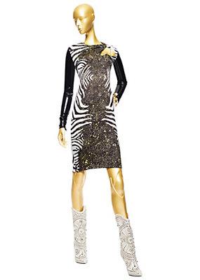 Versace Kadınlar Zebra Baskı Mini Tüp Elbise