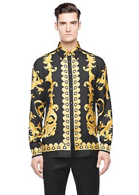 Versace Men Men New Iconic print silk shirt