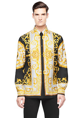 Versace Men Men Barocco printed silk shirt