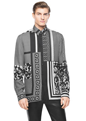 Versace Men Men Chess Machine print shirt