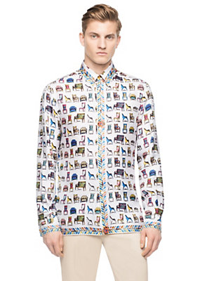 Versace Men Men Long Sleeve Silk Sedie Print Shirt