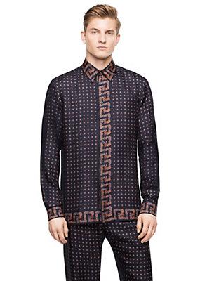 Versace Men Men L/S Silk Tie Print Shirt