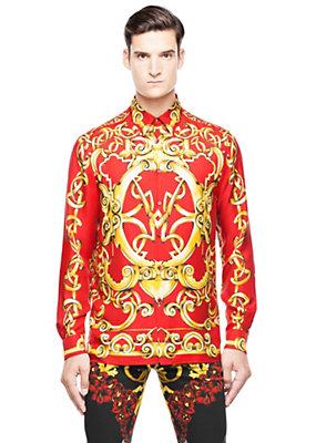 Versace Men Men Heritage Barocco print silk shirt
