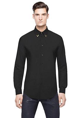 Versace Men Men Gold Tipped Collar Shirt
