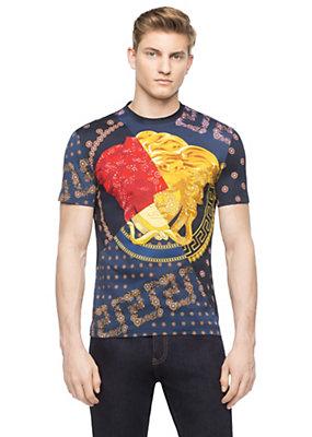 Versace Men Men Medusa Tie Print T-Shirt