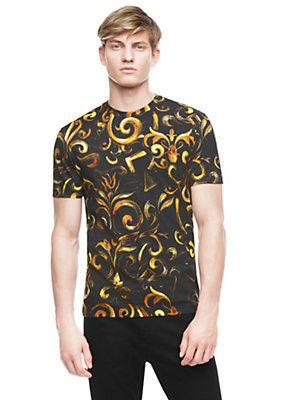 Versace Men Hand drawn Barocco Cotton-T-Shirt