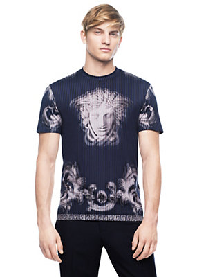Versace Men Lenticular Foulard Cotton-T-Shirt