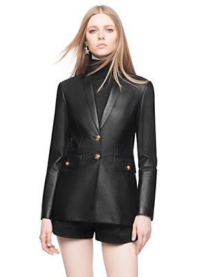 Versace Women Notch-Lapel Nappa Leather Blazer