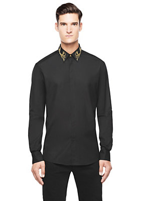 Versace Men Men Embroidered Collar Button Down