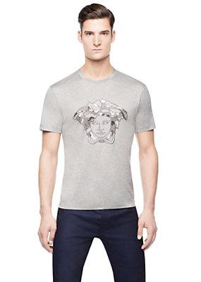 Versace Men Men Mixed Material Medusa T-Shirt