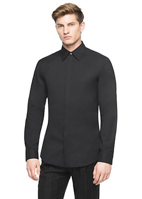 Versace Men Men Medusa button stretch cotton shirt