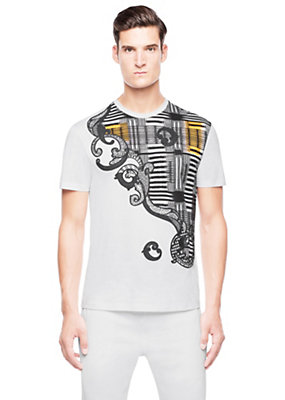 Versace Men Asymmetric ethnic design T-shirt