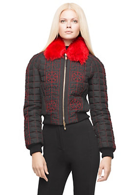 Versace Women #GREEK quilted bomber jacket