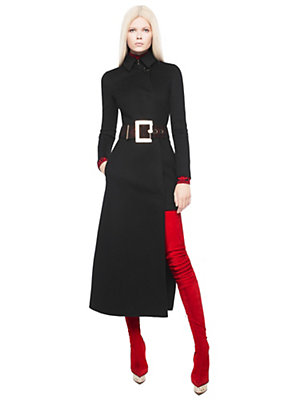 Versace Women Asymmetric long wool trench coat
