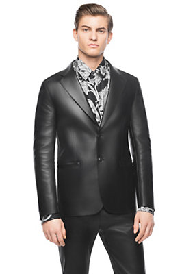 Versace Men Men Bonded Plonge Calf Leather Blazer