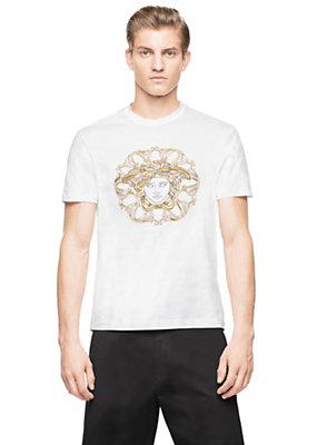 Versace Men Men Silver & Gold Medusa Head T-Shirt