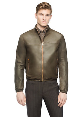 Versace Men Men Vintage Leather Bomber Jacket