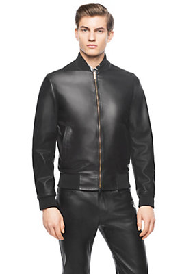 Versace Men Nappa Leather Bomber Jacket