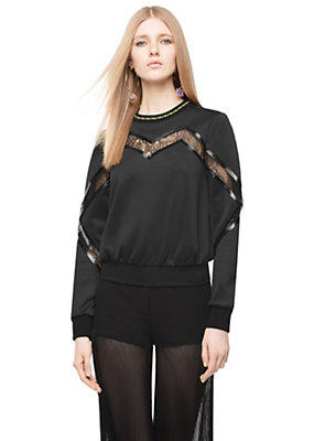 Versace Neoprene and Lace Oversized Sweater