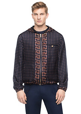 Versace Men Men Silk Tie Print Hooded Jacket