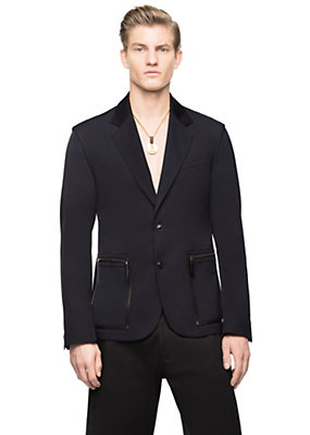 Versace Men Men 2B Notch Lapel Gabardine Jacket