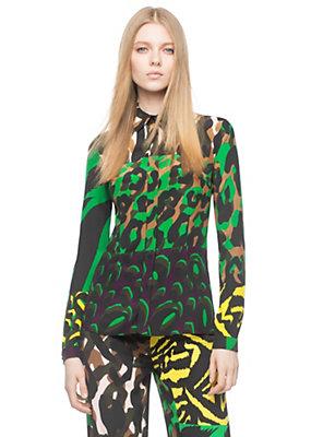 Versace Women Wild Patch Print Silk Shirt