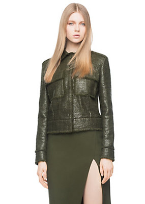 Versace Women Laminated Boucle Jacket