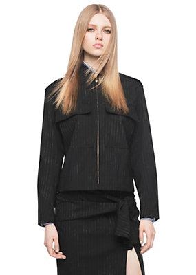 Versace Women Oversized Pinstripe Wool Jacket