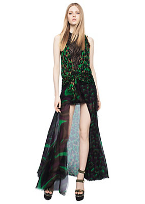 Versace Women Print Mix Silk Chiffon Evening Gown