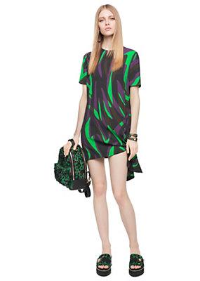 Versace Women Emerald Zebra Print Cady Dress