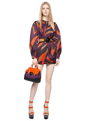Versace Women Zebra Print Volume Sleeve Dress