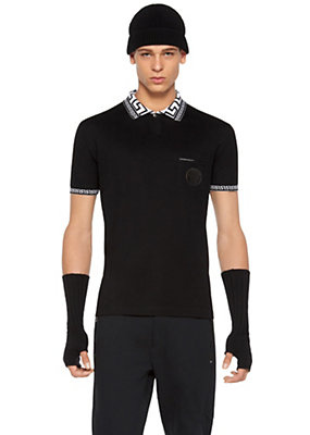 Versace Men Greca Key Collar Cotton Polo Shirt