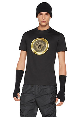 Versace Men Gold Medusa Cotton Jersey T-Shirt