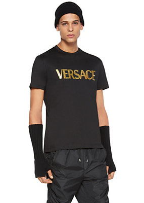 Versace Men Versace Logo Cotton Jersey T-Shirt