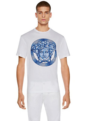 Versace Men Medusa Greca Cotton Jersey T-Shirt