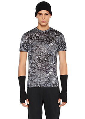 Versace Men Mondo Print Silk T-Shirt