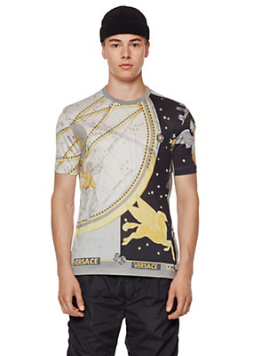 Versace Men Horoscope Print Silk T-Shirt