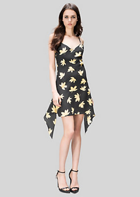 Versus Versace Women Leaves Print Silk Mini Dress