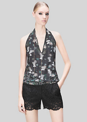 Versus Versace Women Acquarello print silk halter top
