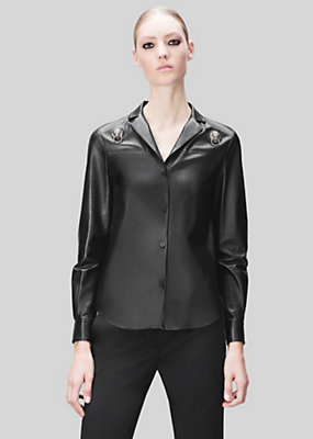 Versus Versace Women Lion Head Ring Leather Shirt