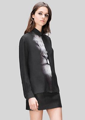 Versus Versace Women Macro Lion Print Silk Shirt