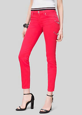 Versus Versace Women Lion Head Safety Pin Jeans