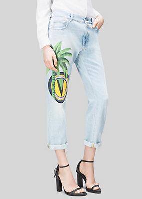 Versus Versace Women Boyfriend Jean with palm and Print