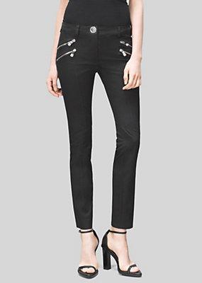Versus Versace Women Lion Head Zip Stretch Cotton Jeans