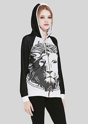 Versace LION HEAD HOODED TOP